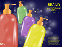 Glamorous Hair and Body Care Products Packages on the sparkling effects background Royalty Free Stock Image
