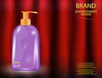 Glamorous Hair and Body Care Products Packages on the sparkling effects background. Royalty Free Stock Images