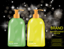 Glamorous Hair and Body Care Products Packages on the sparkling effects background. Stock Images