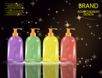 Glamorous Hair and Body Care Products Packages on the sparkling effects background. Stock Photo