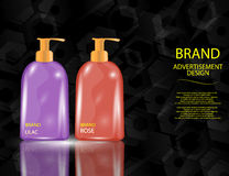 Glamorous Hair and Body Care Products Packages on the sparkling effects background. Royalty Free Stock Photo