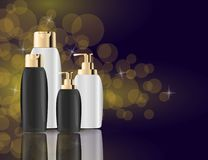 Glamorous Hair Care Products black Packages on the sparkling effects background. Mock-up 3D Realistic Vector illustration Stock Photo