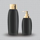 Glamorous Hair Care Products black Packages on the transparent background. Mock-up 3D Realistic Vector illustration Royalty Free Stock Photography