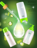 Glamorous Hair Care Products Packages with dropper on the sparkling effects background. Stock Photography