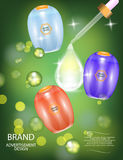 Glamorous Hair Care Products Packages with dropper on the sparkling effects background. Stock Images