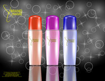 Glamorous Hair Care Products Packages on the sparkling effects background. Stock Images