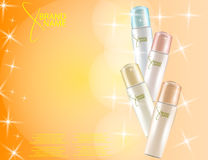 Glamorous Hair Care Products Packages on the sparkling effects background. Royalty Free Stock Image