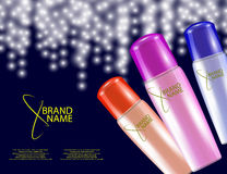 Glamorous Hair Care Products Packages on the sparkling effects background. Royalty Free Stock Images
