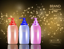Glamorous Hair Care Products Packages on the sparkling effects background. Stock Photos
