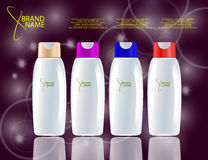Glamorous Hair Care Products Packages on the sparkling effects background. Royalty Free Stock Photos