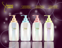 Glamorous Hair Care Products Packages on the sparkling effects background Stock Photography