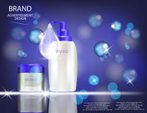 Glamorous Hair Care Products Packages on the sparkling effects background. Stock Photo