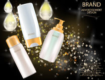 Glamorous Hair Care Products Packages on the sparkling effects background. Stock Image
