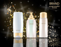 Glamorous Hair Care Products Packages on the sparkling effects background Stock Photo
