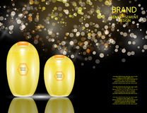 Glamorous Hair Care Products Packages on the sparkling effects background. Stock Photography