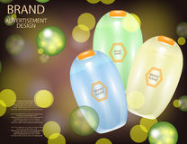 Glamorous Hair Care Products Packages on the sparkling effects background. Royalty Free Stock Photo