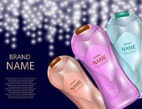 Glamorous Hair Care Products Packages on the sparkling effects background. Mock-up 3D Realistic Vector illustration. Glamorous Hair Care Products Packages on the Stock Photography