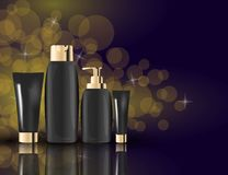 Glamorous Hair and skin Care Products black Packages on the sparkling effects background. Mock-up 3D Realistic Vector illustration Stock Photography