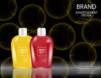 Glamorous Hair and Skin Care Products Packages on the sparkling effects background. Royalty Free Stock Images