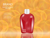 Glamorous Hair and Skin Care Products Packages on the sparkling effects background. Stock Images