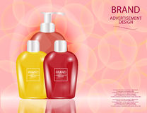 Glamorous Hair and Skin Care Products Packages on the sparkling effects background. Stock Photo
