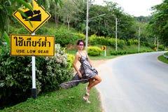 Glamorous hitchhiker. Stock Photography