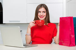 Glamorous housewife shopping online Stock Images