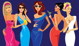 Glamorous lady cocktail, party, evening dresses. Vector illustration of lady cocktail, party, evening dresses Royalty Free Stock Image