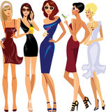 Glamorous lady cocktail, party, evening dresses. Vector illustration of glamorous lady cocktail, party, evening dresses Stock Images