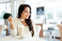 Glamorous lady drinking coffee Royalty Free Stock Image
