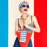 Glamorous lady. Marine style. fashion vacation Royalty Free Stock Image