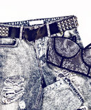 Glamorous lady metallic look. Vintage jeans and bra with rhinest Stock Photography