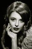 Glamorous lady portait close. black and white Royalty Free Stock Photography