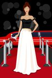 Glamorous Lady on Red Carpet. Illustration of glamorous lady walking on red carpet Royalty Free Stock Image