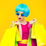 Glamorous Lady Shopping.time Discounts Royalty Free Stock Photo