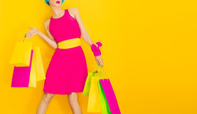 Glamorous lady shopping. Time discounts and sales Stock Images
