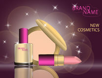 Glamorous lipstick, nail laquer, compact foundation on the  spar Royalty Free Stock Images