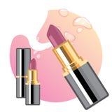 Glamorous lipsticks ads. Elegant lipstick for makeup, pink texture on the background Stock Photo