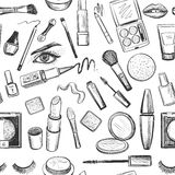 Glamorous make-up seamless pattern Stock Photo