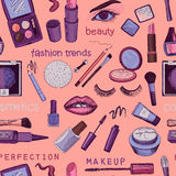 Glamorous make-up seamless pattern Stock Image
