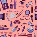 Glamorous make-up seamless pattern Stock Image