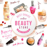 Glamorous make up watercolor background Royalty Free Stock Photo