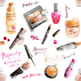 Glamorous make up watercolor cosmetics. Background Stock Image