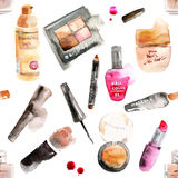Glamorous make up watercolor cosmetics vector illustration