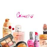 Glamorous make up watercolor cosmetics stock illustration