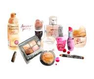 Glamorous make up watercolor cosmetics royalty free illustration