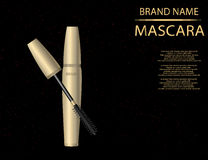 Glamorous mascara product, golden package design in 3d on the  s Royalty Free Stock Images