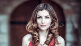 Glamorous model with hair in ringlets