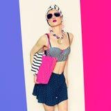 Glamorous model. Summer beach marine style Stock Photography
