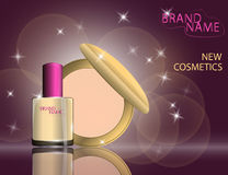 Glamorous nail lacquer, perfume and lipstick on the  sparkling Royalty Free Stock Image
